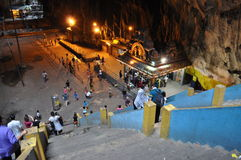 Temple In A Cave. The first Hindu temple inside Batu Caves in Selayang Selangor. Ceremonies held in between 8am till afternoon. The stairs leads up to another Royalty Free Stock Photography
