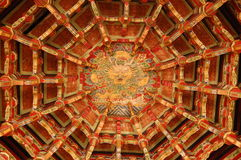 Temple ceiling. Ceiling of Lukang Longshan Temple, Taiwan stock image