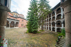 Temple and cells of the Rila Monastery, Bulgaria Royalty Free Stock Photos