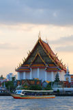 Temple at Chao Phraya Riverside. Wat Kanlayanamit, one of 9 important temples for Royal Thai Family. It is located in Chao Phraya riverside Stock Images