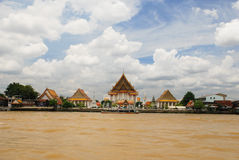 Temple from the Chao Praya River Royalty Free Stock Photography