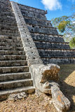 Temple in Chichen Itza. Stairs and snake head on a temple in Chichen Itza, Mexico Stock Photo