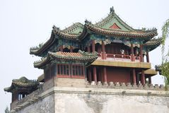 Temple, China. A tower and wall at a temple in China Royalty Free Stock Image
