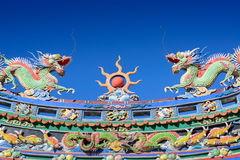 Temple chinese dragon roof Stock Photos