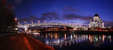 Temple of Christ Our Saviour in Moscow. And the foot bridge stock photography