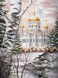 Temple of the Christ of the Savior on a birch bark. Photo: drawing distemper on a birch bark: the Temple of the Christ of the Savior, Russia, Moscow stock illustration