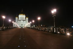 Temple of Christ the Savior in Moscow. In the night view from the bridge Royalty Free Stock Photography