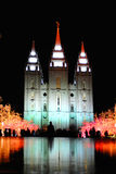 Temple and Christmas Lights. Night time around a church decorated with christmas lights Royalty Free Stock Image