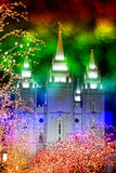 Temple and Christmas Lights. Night time around a church decorated with christmas lights Stock Photography