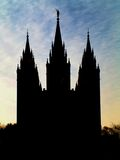 Temple Church. Mormon temple silhouette with blue sky Royalty Free Stock Images