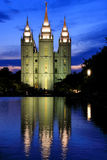 Temple of The Church of Jesus Christ of Latter-day Saints reflec Stock Image