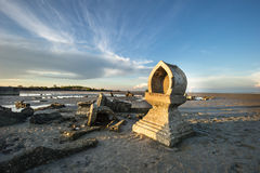 Temple on the coast which has been eroded away. Stock Photos