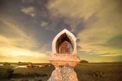 Temple on the coast which has been eroded away. Royalty Free Stock Photo