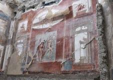 Temple in the College of Augustales in Parco Archeologico di Ercolano. Pictured is a temple in the College of Agustales in the Parco Archeologico di Ercolano Stock Photos