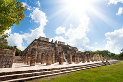 Temple and columns, Chichen Itza, Mexico Stock Photos
