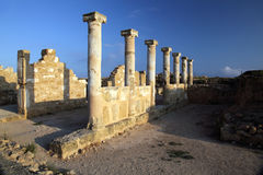 Temple columns at Paphos, Cyprus. Royalty Free Stock Photo