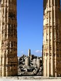 Temple columns and ruins stock image