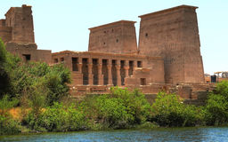 Temple complex in the Agilkia island (Egypt). Panoramic view of temple complex at Philae island currently on the small island of Agilkia (Egypt stock image
