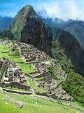 Temple complex Machu Picchu in Peru. Machu Picchu in Peru. inca empire world wonder. view with Wayna Picchu Stock Photos