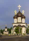 The temple complex of St. Sergius of Radonezh, Moscow, Russia. The temple complex of St. Sergius of Radonezh at the Ryazan Avenue in Moscow stock photo