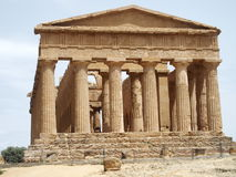 Temple of Concordia - front. Temple of Concordia in Valley of the Temples in Agrigento in May, Sicily, Italy Royalty Free Stock Image
