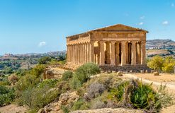 Temple of Concordia, located in the park of the Valley of the Temples in Agrigento, Sicily stock photo