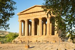 Temple of Concordia in the Valley of the Temples in Agrigento Stock Photos