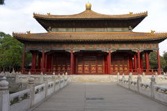 Temple of Confucius. Frontal view of the Confucius temple in Beijing, where the Chinese emperors themselves taught confucian philosophy to their high civil Royalty Free Stock Image
