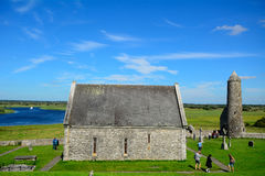 Temple of Connor and the Mccarthy Tower, Clonmacnoise, Ireland Royalty Free Stock Image