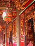 Temple Corridor. Gorgeously decorated hallway in a temple in Taiwan royalty free stock image