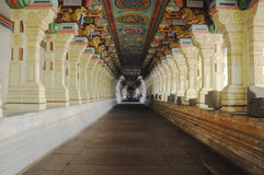 Temple corridor. The longest temple corridor in the world situated at ramanathaswamy temple remeshwaram tamilnadu south India Stock Images