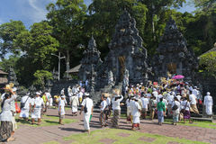 Temple Crowd, Pura Goa Lawah, Bali, Indonesia Stock Photography