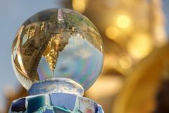Temple in crystal  ball Stock Photography