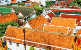 The temple and cubicle roof. In thailand royalty free stock photography
