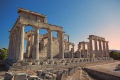 Temple d'Aphaia en île d'Aegina, Grèce Photos libres de droits