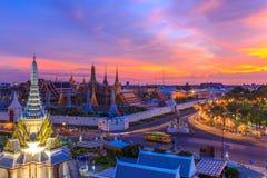 Temple d'Emerald Buddha ou de Wat Phra Kaew, palais grand, Bangkok, Thaïlande Image libre de droits