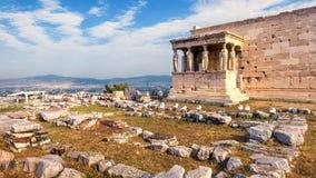 Temple d'Erechtheion avec le porche de cariatide, Athènes, Grèce photos stock