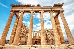 Temple d'Erechtheion sur l'Acropole, Athènes, Grèce images stock
