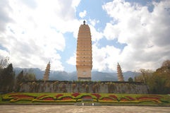 Temple in Dali. Chong Shen Monastery and the 3 pagodas in Dali, Yunnan Royalty Free Stock Photos
