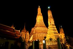 The Temple of Dawn at night. Royalty Free Stock Images