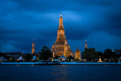 Temple of dawn at Night. Wat Arun or Temple of Dawn is known well for tourist when the visit Bangkok they must come to see the pagoda and architect of this Stock Images