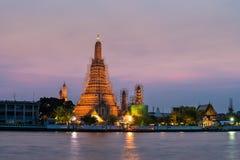 Temple of dawn (wat arun) in bangkok ,thailand renovate and repa. Ir at evening Stock Images