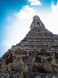 The Temple of Dawn Wat Arun and blue sky in Bangkok, Thailand.  Royalty Free Stock Photo