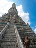 The Temple of Dawn Wat Arun and blue sky in Bangkok, Thailand.  Royalty Free Stock Photography