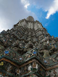 The Temple of Dawn Wat Arun and blue sky in Bangkok, Thailand.  Royalty Free Stock Images