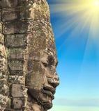 Temple de Bayon de coucher du soleil de ressort, Angkor, Cambodge photos stock