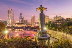 Temple de Bongeunsa d'horizon du centre dans la ville de Séoul, Corée du Sud photos libres de droits