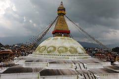 Temple de Boudhanath, mondes plus grand Stupa Image libre de droits