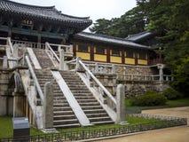 Temple de Bulguksa dans Gyeongju, Corée du Sud Voie de base Photographie stock libre de droits