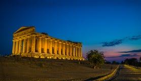 Temple de Concordia à Agrigente Images libres de droits